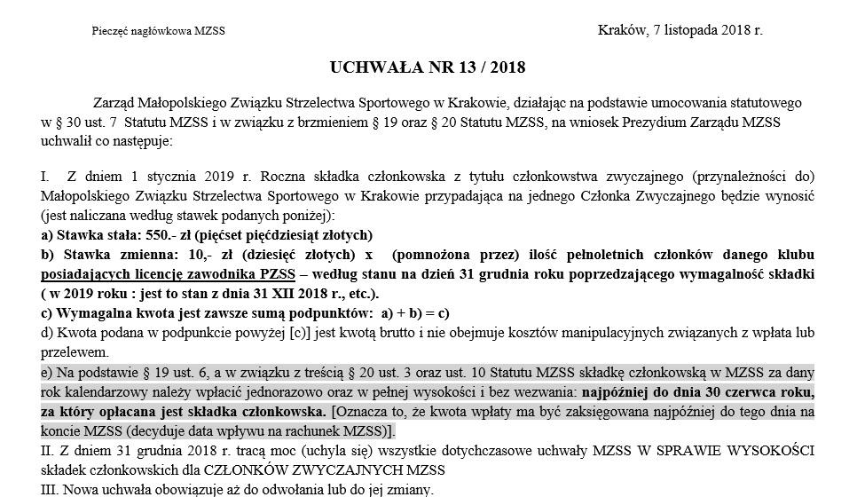 UCHWAŁA NR 13 / 2018 - dotyczy: Składka członkowska