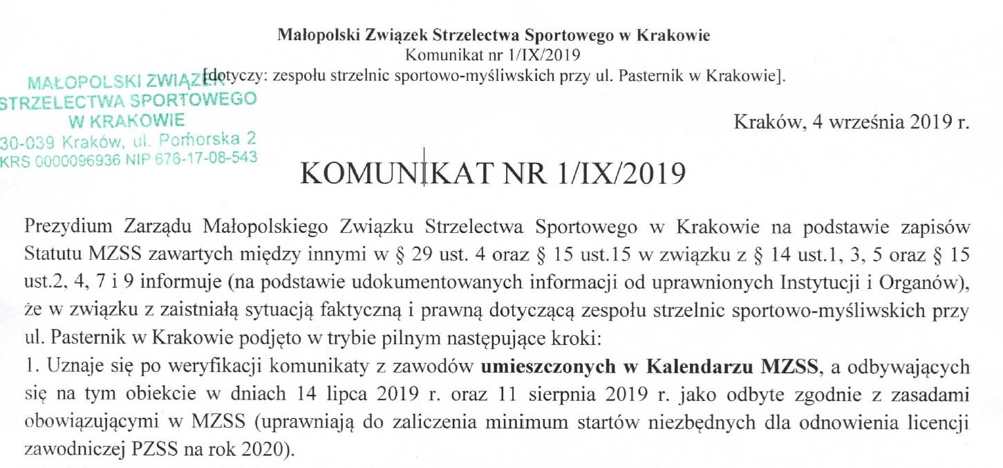 Komunikat Zarządu MZSS w sprawie strzelnicy Pasternik